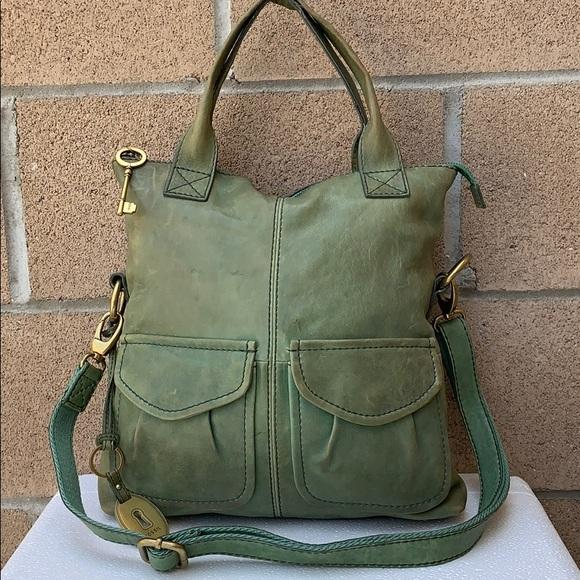 Fossil Handbags - Fossil Modern Cargo Foldover green crossbody bag